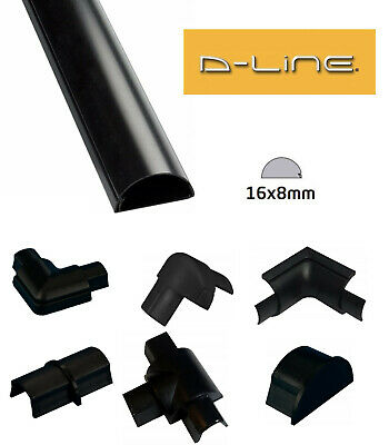 £2.19 • Buy D-Line 16mm X 8mm Black Micro Trunking PVC Cable Management Hide Cover