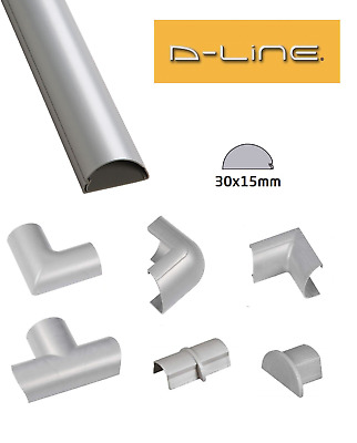 £2.39 • Buy D-Line 30mm X 15mm Silver Mini Trunking PVC Cable Management Hide Cover