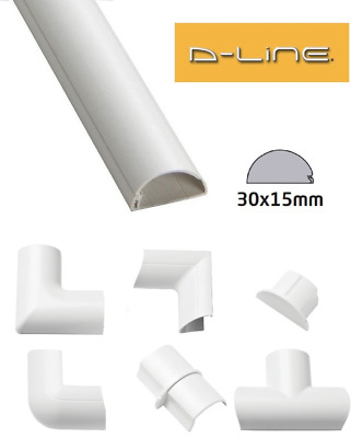£2.49 • Buy D-Line 30mm X 15mm White Mini Trunking PVC Cable Management Hide Cover