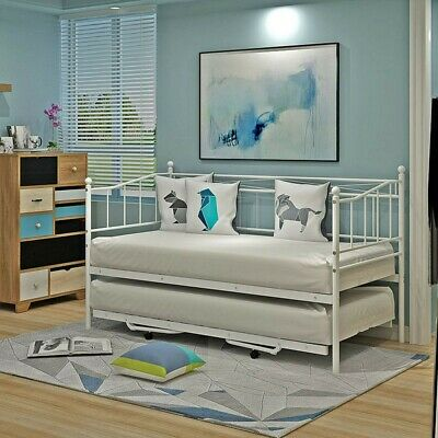 £119.99 • Buy Metal Bed Frame Day Bed With Trundle Single Double Sofa Guest Bed + Mattress