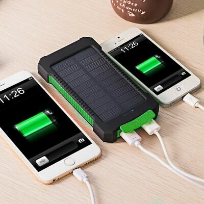 AU35.78 • Buy Solar Power Bank Waterproof 20000m Ah Charger 2 USB Ports With LED Light
