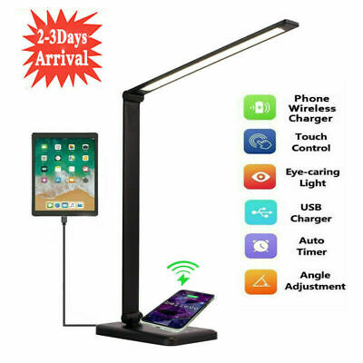 AU27.69 • Buy Desk Table Lamp Reading Night Light Dimmable USB LED Wireless Phone Charger Lamp