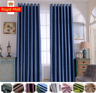 £18.39 • Buy Thermal Blackout Curtains Ready Made Eyelet Ring Top Or Pencil Pleat + Tie Backs