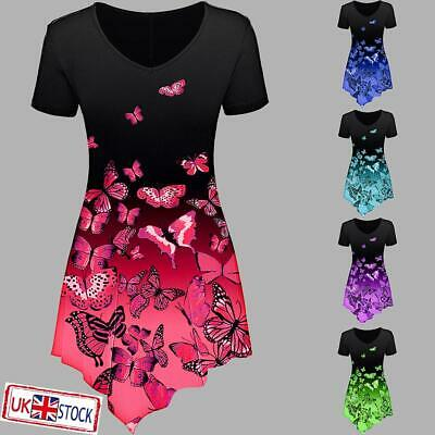 £9.29 • Buy Womens Short Sleeve T-Shirt Loose Tunic Tops Ladies Printed V Neck Casual Blouse