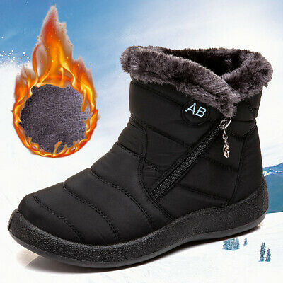 AU33.99 • Buy Womens Fur Lined Snow Ankle Boots Ladies Winter Warm Waterproof Flat Shoes Size