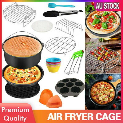 AU21.99 • Buy 8  Air Fryer Accessories Rack Cake Pizza Oven Barbecue Frying Pan Tray Cage Pot