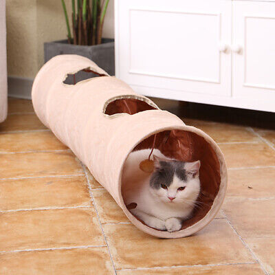 AU23.99 • Buy Pet Cat Tunnel Crinkly Tent With Ball Play Fun Holes Collapsible Hiding Cat Toys