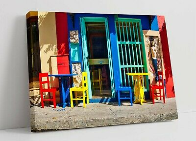 £11.99 • Buy Colourful Cafe 1 Canvas Wall Art Float Effect/frame/picture/poster Print- Blue