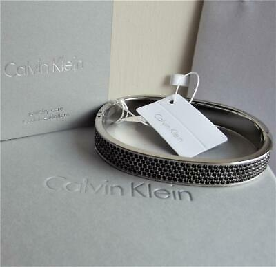 £44.99 • Buy CALVIN KLEIN SIGNED STAINLESS STEEL BLACK CRYSTAL BANGLE Size- S BNWT RRP £149