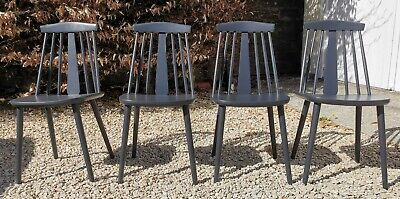 £240 • Buy X4 Ercol Solid Elm Stick Back Dining Chairs In Pitch Black Farrow And Ball