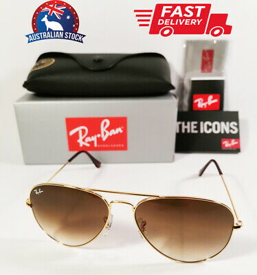 AU93.50 • Buy Ray-Ban Aviator Sunglasses Brown Gradient Lenses Gold Metal Frames RB 3025 58mm