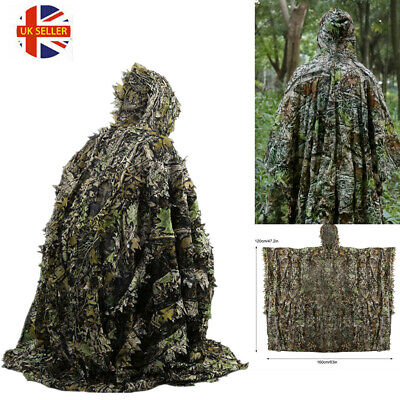 3D Leaf Camouflage Ghillie Suit Set Clothing Jungle Forest Hunting Sniper Train • 21.99£