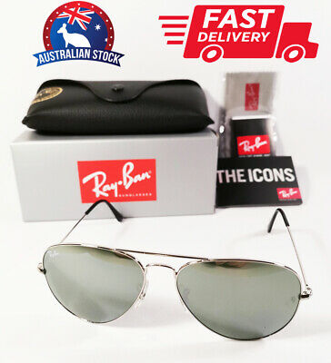 AU96 • Buy Ray-Ban Aviator Sunglasses Silver Frame Silver Mirror Lenses RB 3025 58mm