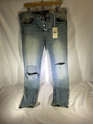 $ CDN69.84 • Buy Mnml M6 Mens Jeans Size 34 Faded Blue, Tapered Ankle Zip,  Distressed