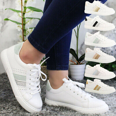 £14.95 • Buy Ladies Running Lace Up Trainers Womens Glitter Jogging Sports Sneaker Shoes Size