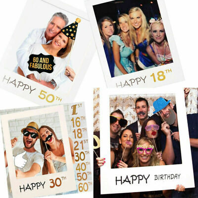 £3.39 • Buy 18th 21st 30th 40/50th Happy Birthday Party Paper Photo Booth Props Frame Decor