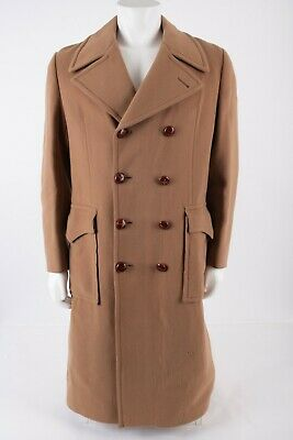 $143.10 • Buy Vintage Teller Austria Double Breasted Coat Sz 42 Tan Camel Wool Leather Button