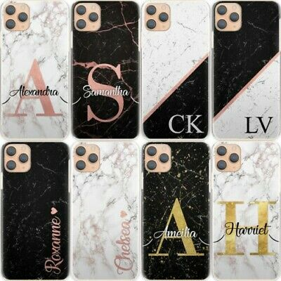 AU15.34 • Buy Personalised Initial Phone Case, Black Marble Hard Cover For Google/Asus/Oppo