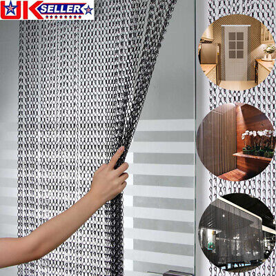 214x90CM Aluminum Door Curtain Metal Chain Screen Fly Insect Mosquito Blinds UK • 33.98£
