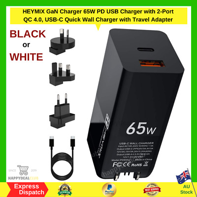 AU48.99 • Buy 65W USB C Charger 2-Port QC 4.0 GaN Tech, USB-C Fast Wall Charger | NEW AU STOCK