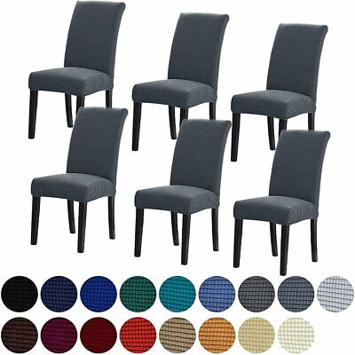AU4.99 • Buy Dining Chair Covers Stretch Jacquard Parson Chair Slip Covers Washable 1/4/6/8PC