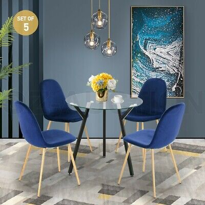 AU249.95 • Buy Modern Dining Table Chairs 5 Set Clear Glass Velvet Round Kitchen Furniture Blue