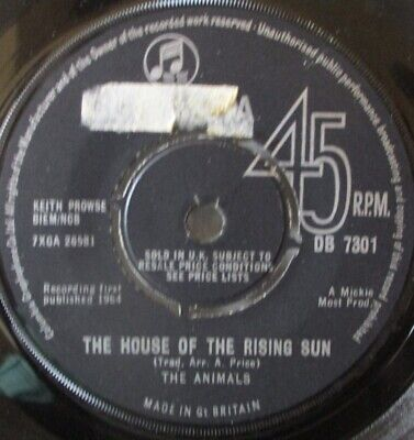 £10.34 • Buy THE ANIMALS - House Of The Rising Sun - 7  Single