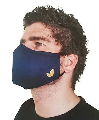 £4 • Buy Mens Face Masks Face Coverings Male Navy Blue 4PLY Lush Designer Washable