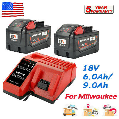 $ CDN36.42 • Buy For Milwaukee M18 Lithium XC 9.0Ah Extended Battery 48-11-1860 & M12-18 Charger