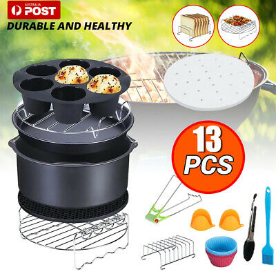 AU23.57 • Buy 13Pcs Set 8  Air Fryer Accessories Cake Pizza BBQ Roast Barbecue Baking Pan Tray