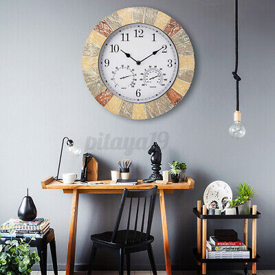 AU47.20 • Buy Rustic Hygrometer Wall Clock Indoor Outdoor Garden Retro Decor Home Office Gift