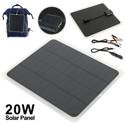 £13.49 • Buy 12V/20W Outdoor Battery Charger Portable Solar Panel Trickle Car Boat Supply UK