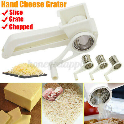 £8.99 • Buy 3 In1 Rotary Hand Cheese Grater Slicer Stainless Steel Blades Kitchen Tool UK