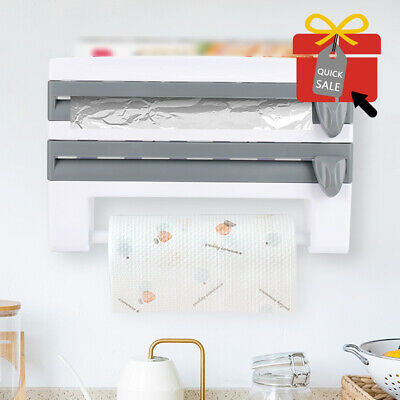 £7.89 • Buy Cling Film And Kitchen Foil Dispenser Paper Towel Roll Holder Wall Mounted Rack