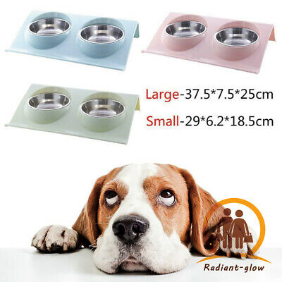 £6.89 • Buy Pet Double Feeding Bowl Splash-proof Cat Puppy Food Water Drinking Feeder Dishes