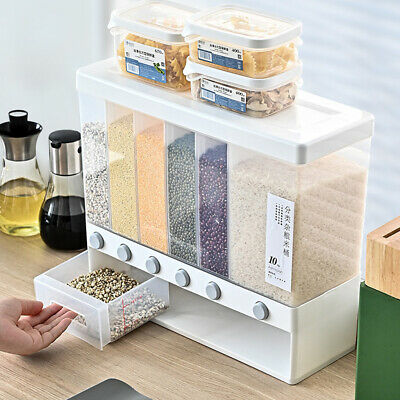 £31.91 • Buy 6 In1 Kitchen Wall Mounted Food Storage Container Cereal Rice Grain Dispenser