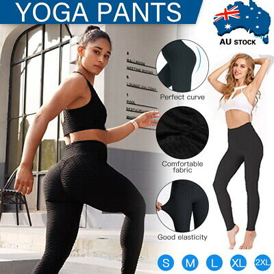 AU15.50 • Buy Women High Waist TikTok Leggings Ruched Anti-Cellulite Yoga Pants Gym Fitness AU
