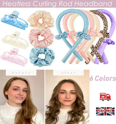 Lady Silk Ribbon Hair Curler Heatless Curling Rod Headband Lazy Wave Former UK • 3.19£