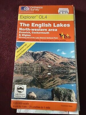 Ordnance Survey Map The Emglish Lakes North & Western Area Keswick Explorer OL 4 • 4£