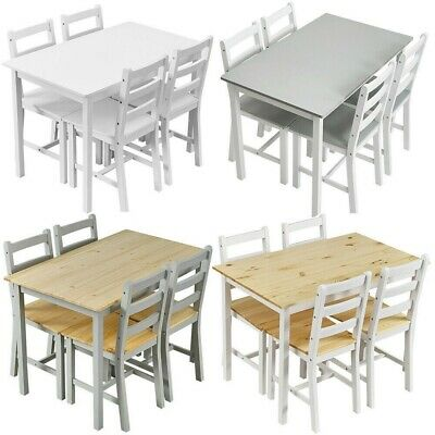£99.99 • Buy New Solid Wood Dining Table And 4 Chairs Set Home Kitchen Furniture 4 Colours