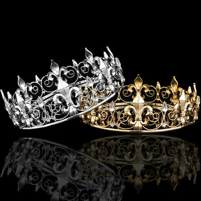 £11.99 • Buy Men's Imperial Medieval Fleur De Lis King Crown Gold/Silver Plated Prom Party