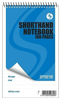 """£4.65 • Buy 3x 160 Pages Notepad Spiral Reporters Silvine Notebook Shorthand Books 8"""" X 5"""""""