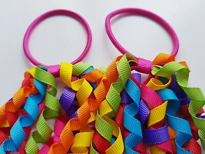 AU5.52 • Buy X2 Corker Curly Bobbles Kid Hair Elastic Accessories Bow