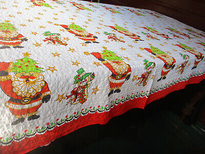 $ CDN31.89 • Buy Vintage Christmas Seersucker Tablecloth 190 X 140 Cm