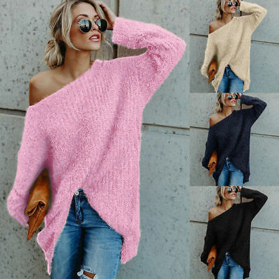 £8.19 • Buy Womens Off The Shoulder Fluffy Sweater Baggy Long Sleeve Jumper Pullover Tops UK