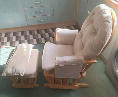 Maternity Gliding Rocking Chair And Footstool Ministar Natural Pine GC • 60£