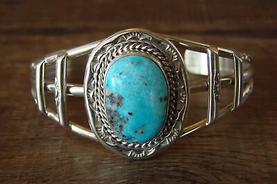 £140.59 • Buy Navajo Indian Jewelry Sterling Silver Turquoise Bracelet - S. Yazzie