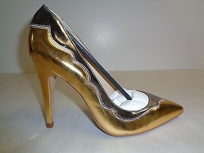 £70.27 • Buy Amiana Size 8 12-10172 Gold Pewter Leather Pumps Heels New Womens Shoes