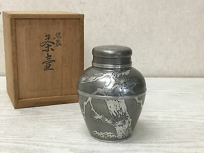 £223.13 • Buy Y2583 TEA CADDY Tin Container Signed Box Japanese TEA Ceremony Antique Vintage