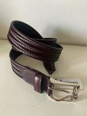 £40 • Buy Anderson's Belt, Brown Plaited Leather,! ~ Mens  - NEW + TAGS  Size 40UK - 100EU